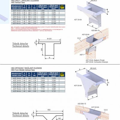 10_H60_K Series Cable Trays Vertical Tees & From Middle Vertical Tees