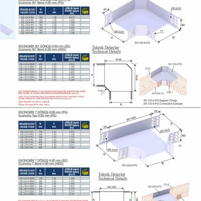 2_H80_K Series Cable Trays Economic 90° Bends & Economic T Bends