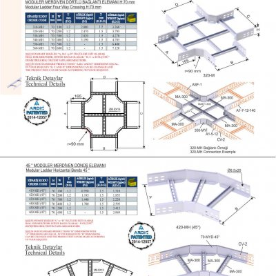 3_H70 M Series Cable Ladder Four Way Crossing Bends & 45° Bends