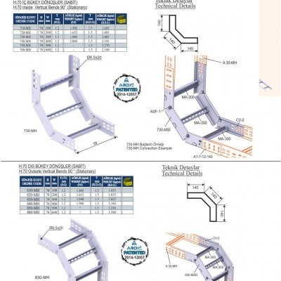 6_H70 M Series Cable Ladder Inside & Outside Vertical Bends  (Fixed)